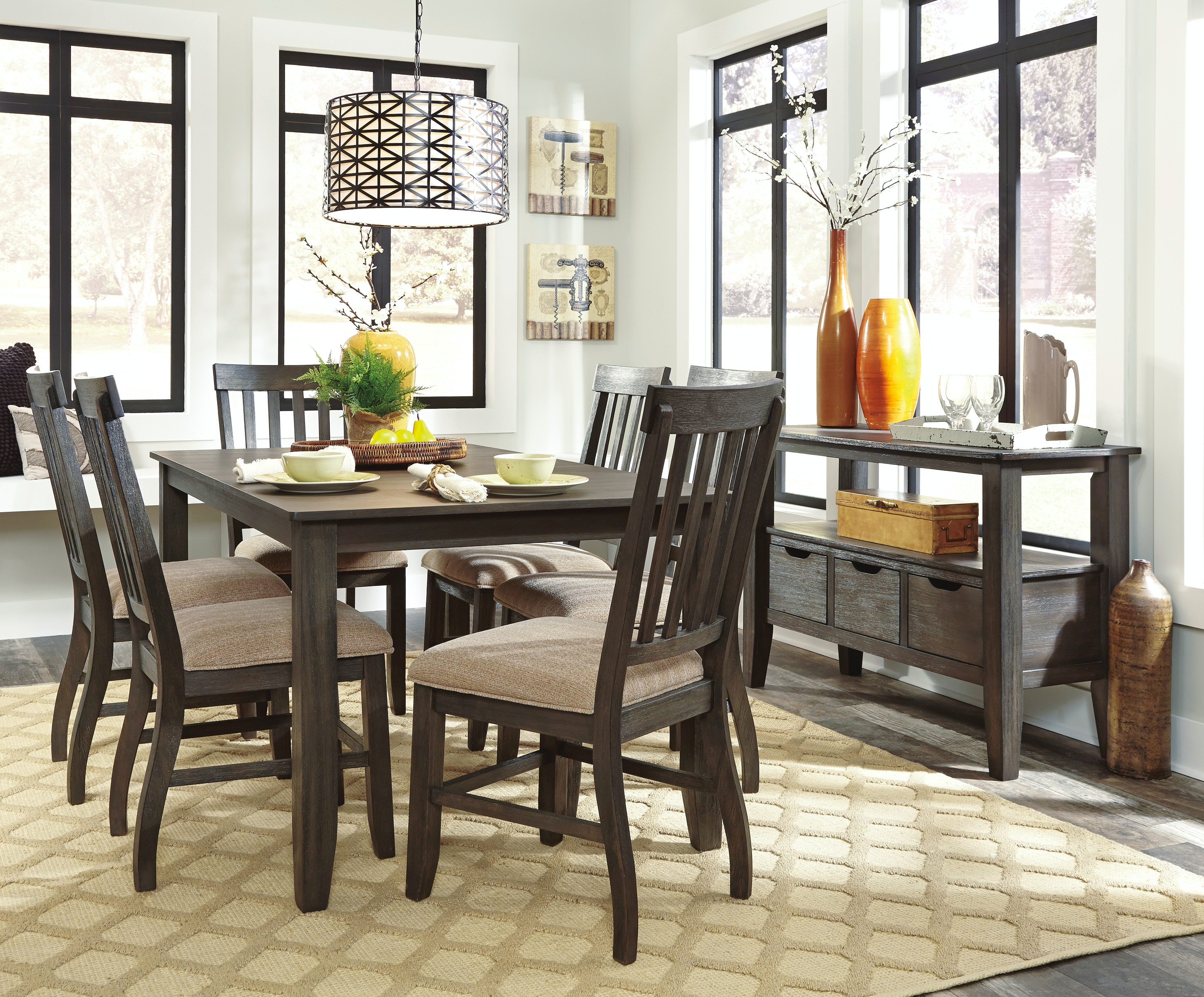 Ashley Dresbar 7pc Pub Dining Room Set D485 Tbl/6 Chairs