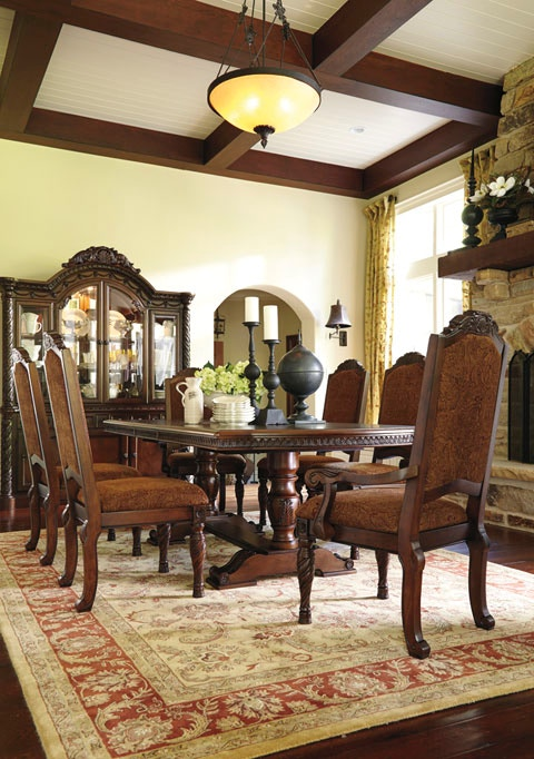 Attractive Ashley North Shore Dining Room Set 7pc D553 55/02x6