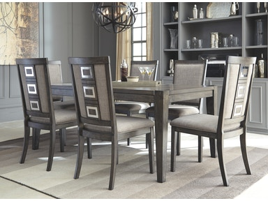 Ashley Chadoni 7 Piece Rectangular Extension Dining Room Set: 6 chairs, rectangular extension table D624