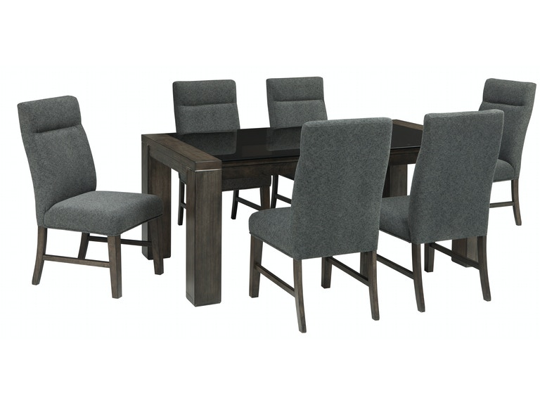 Chansey 7pc Dining Room Set: 6 chairs, rectangular table