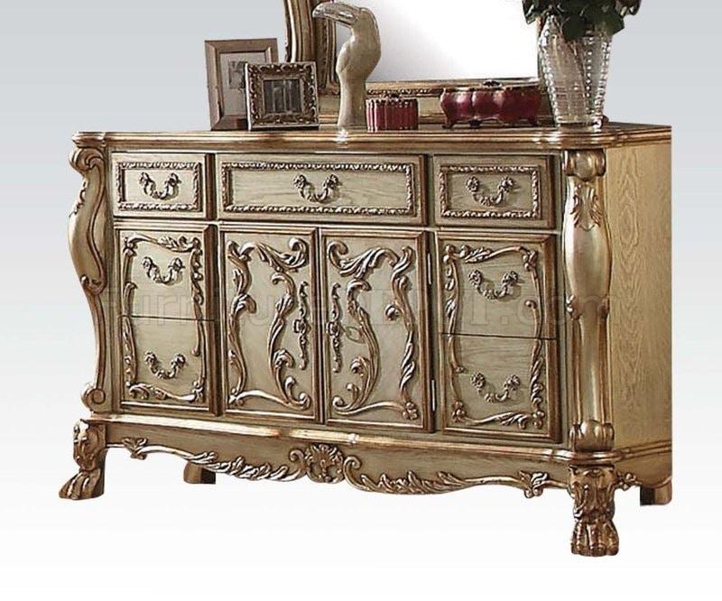 Amazing Acme Dresden Gold Patina 5pc Bedroom Set 23157/23165/23164