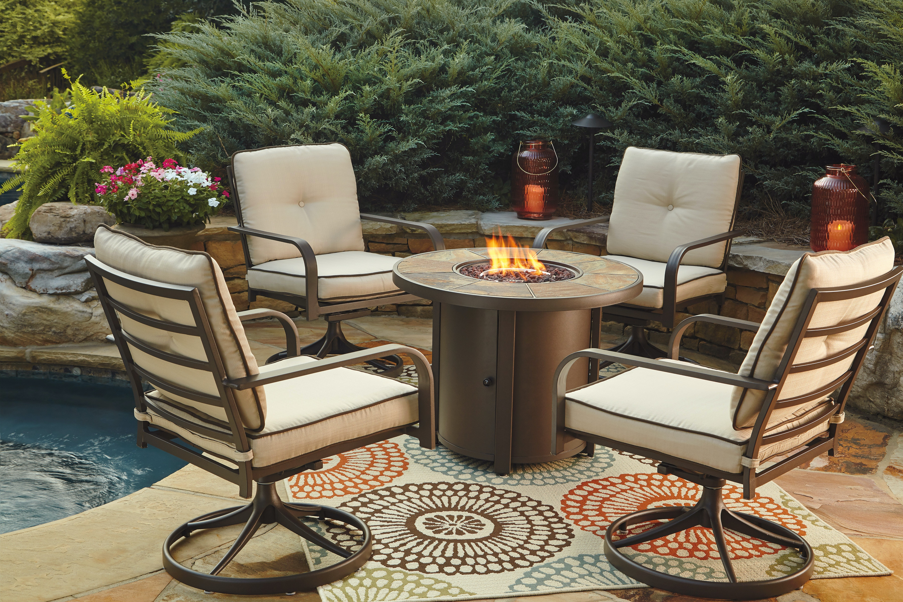 Ashley Predmore Fire Pit Set W/ 4 Swivel Chairs P324