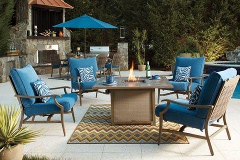 Ashley Partanna 5 Piece Outdoor Fire Pit Set: 4 Glider Chairs, Fire Pit