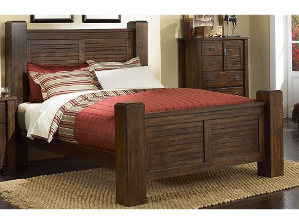 Progressive Bedroom Furniture Trestlewood 5pc Poster Bedroom Set Headboard Footboard Rails