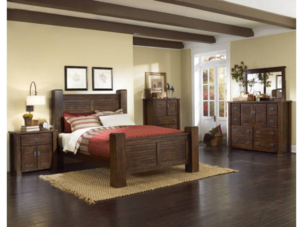 Trestlewood 5pc Poster Bedroom Set: Headboard, Footboard, Rails ...