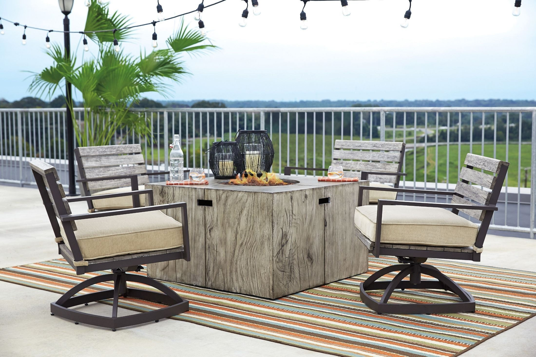 Ashley Peachstone 5 Piece Outdoor Fire Pit Set: 4 Swivel Chairs, Fire Pit