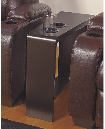 Carlyle Chair Side End Table with 2 Cup Holders Powerstrip & USB