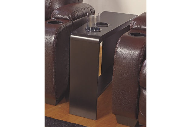 Ashley Carlyle Chair Side End Table With 2 Cup Holders, Powerstrip, U0026 USB  Charging