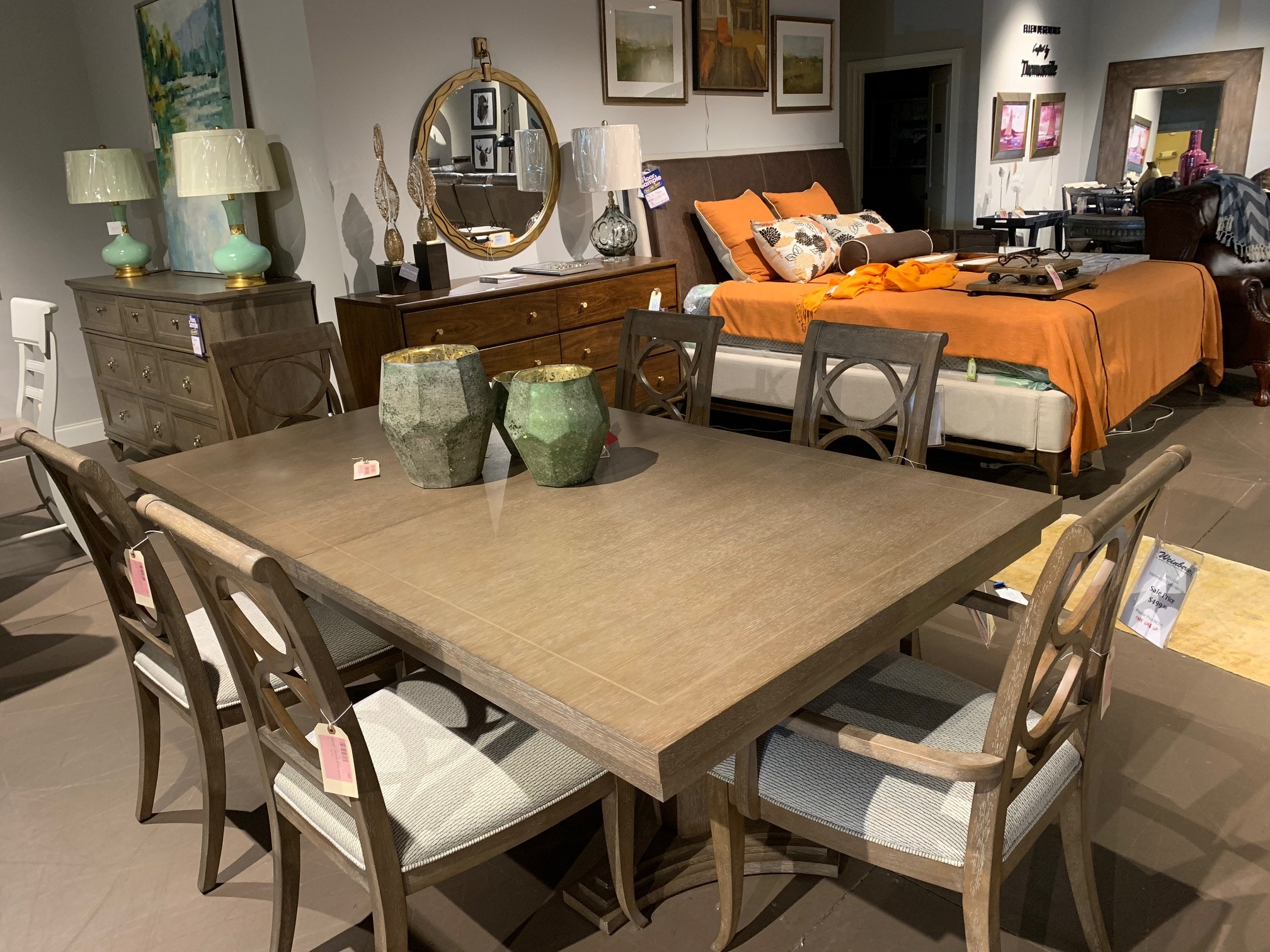 clearance thomasville dining table and 6 chairs 853217 rh weinbergersfurniture com thomasville dining table discontinued thomasville dining table and chairs