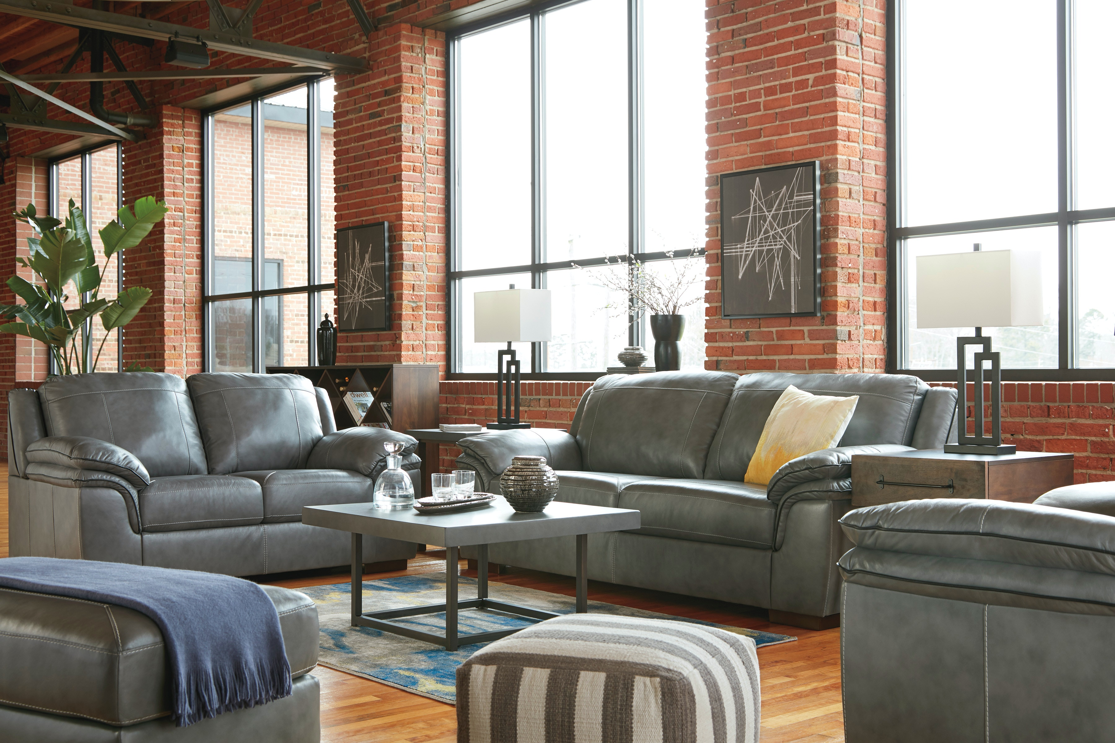 Signature Design By Ashley 3pc Islebrook Leather Living Room   100% Leather  Sofa/Love