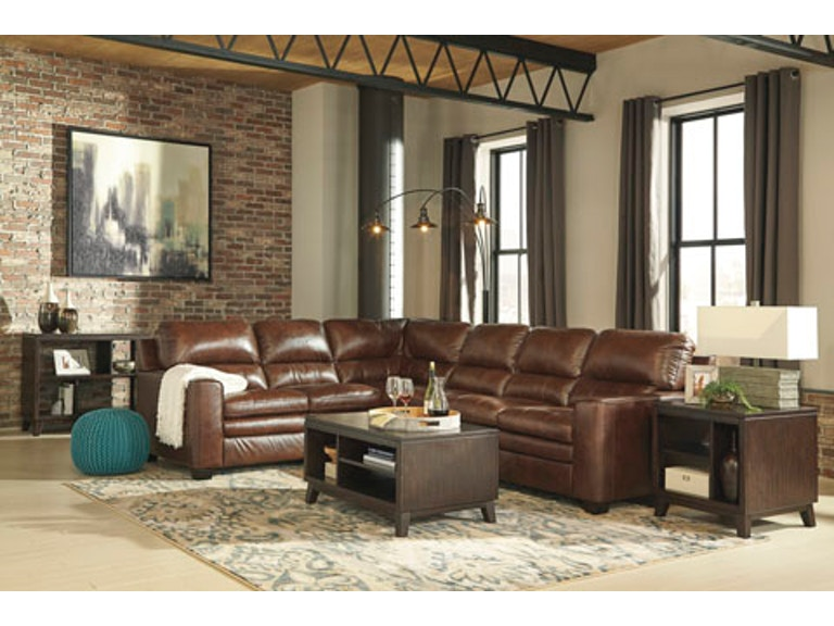 2pc Gleason Leather Sectional In Amber Brown