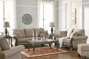 Signature Design By Ashley 7pc Claremorris Living Room Package Includes Wood  Trim Sofa Loveseat And Matching
