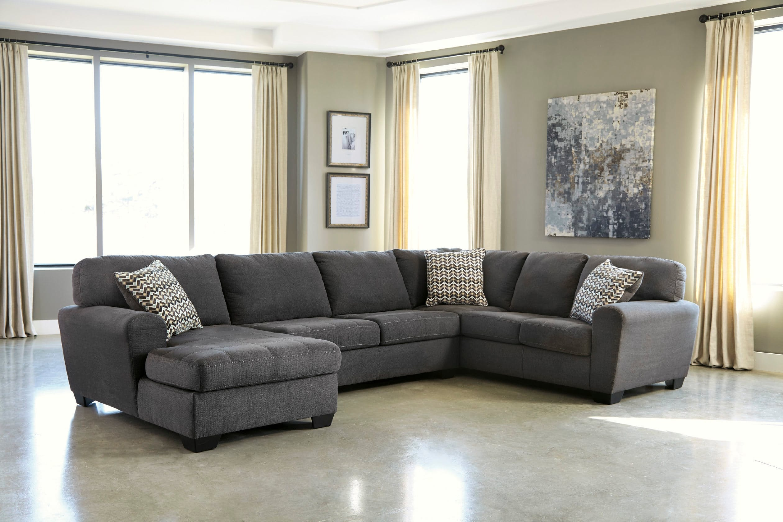 Signature Design By Ashley Living Room 4pc Right Sofa Sectional With