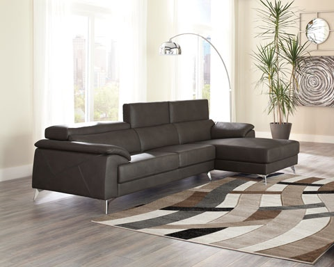 2pc Tindell Grey Sectional W/adjustable Headrests And RAF Chaise