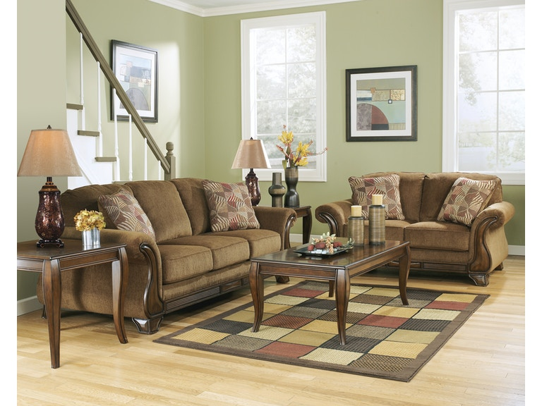 Signature Design By Ashley 5pc Montgomery Wood Trim Sofa Loveseat And 3pc Table Set 38300