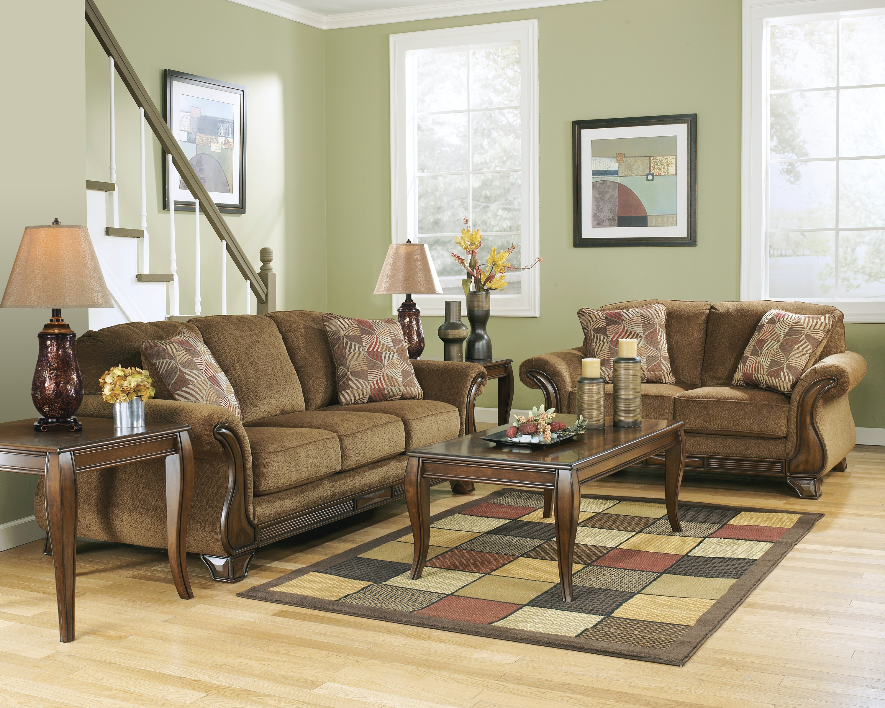 Signature Design By Ashley 5pc Montgomery Wood Trim Sofa, Loveseat And 3pc  Table Set 38300