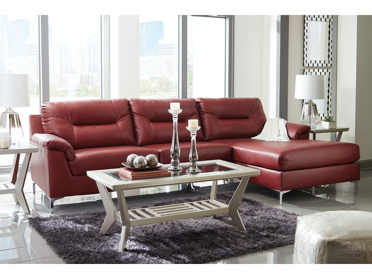2pc Tensas Red Sectional Laf Sofa