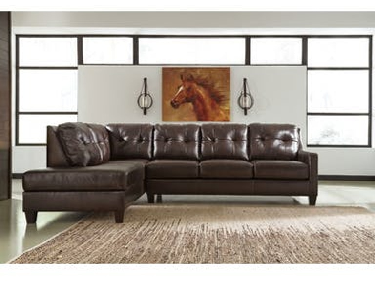 Okean Chocolate Leather Sectional Wlaf Chaise