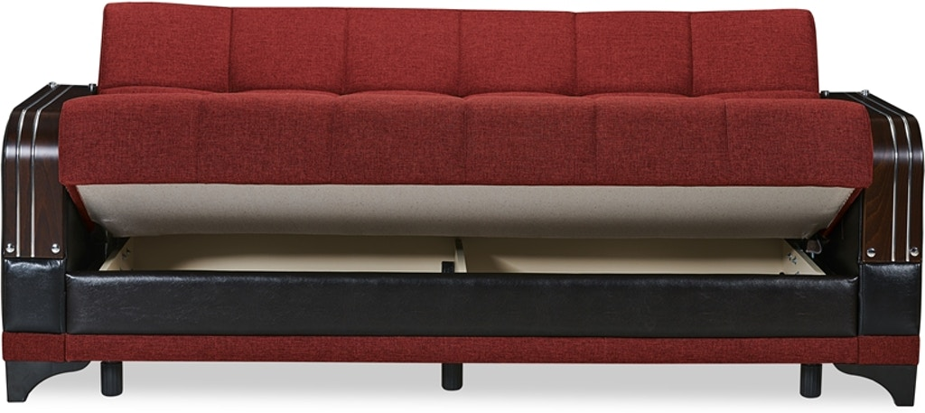 Casamode Futon Sofa Bed Klik Klak Sit Sleep And Storage Almira Burgundy Sofabed