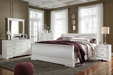 Signature Design By Ashley 8PC Anarasia Bedroom Includes Queen Sleigh  Bed/Dresser/Mirror/