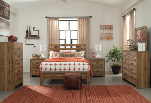 Signature Design by Ashley 8PC Wood Finish Bedroom Includes Queen Size Slatted Headboard/Footboard/ & Signature Design by Ashley 8PC Wood Finish Bedroom Includes Queen ...