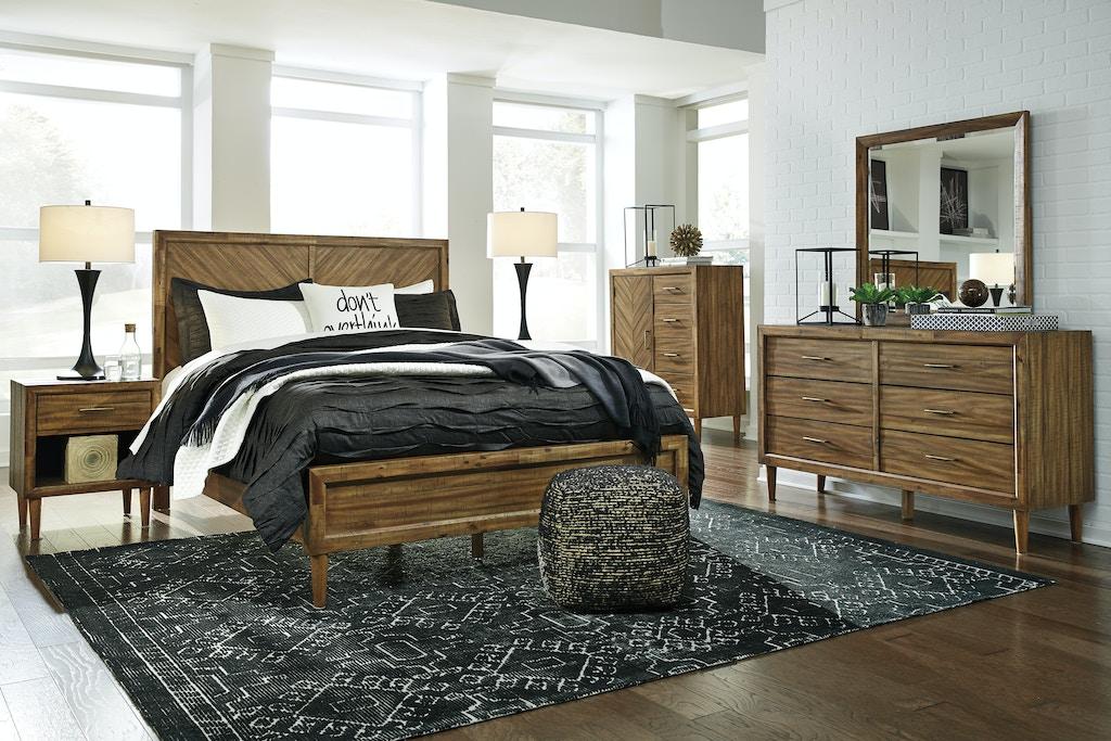 Signature Design By Ashley Bedroom 6pc Broshtan Mid Century Modern Queen Bedroom Set Fulton