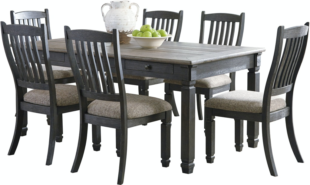 7PC Tyler Creek Dining Room Set includes all wood table and 6 matching side  chairs.