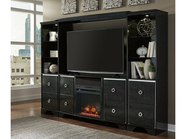 6pc Loaded Amrothi Entertainment Center w/fireplace and audio.