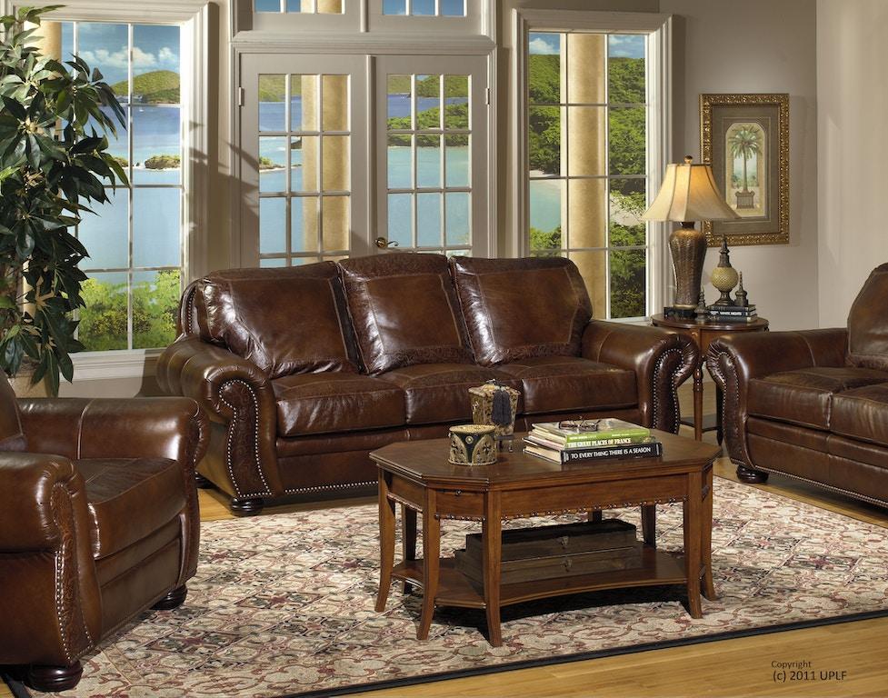 Usa Premium Leather Sg Oak Paisley Sofa 1705817
