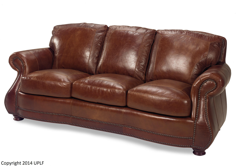USA Premium Leather Brandy Crocodile Sofa 623230