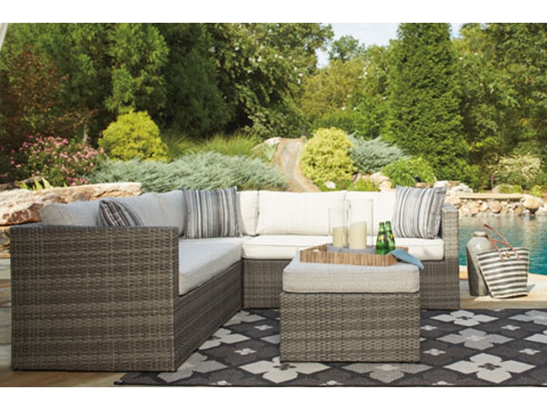 Ashley Outdoor Patio P33055 Sectional With Ottoman P320 850 880 At Love S Bedding And Furniture