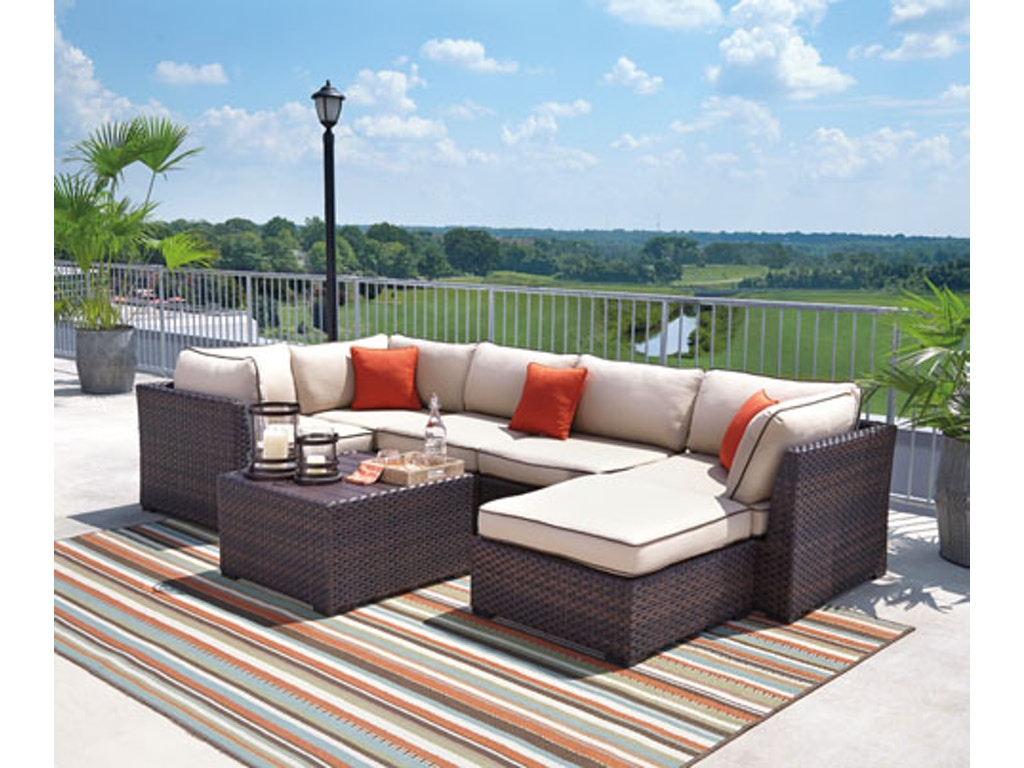 Ashley outdoorpatio outdoor sectional with coffee table p450877 ashley outdoor sectional with coffee table p450877077846 geotapseo Images