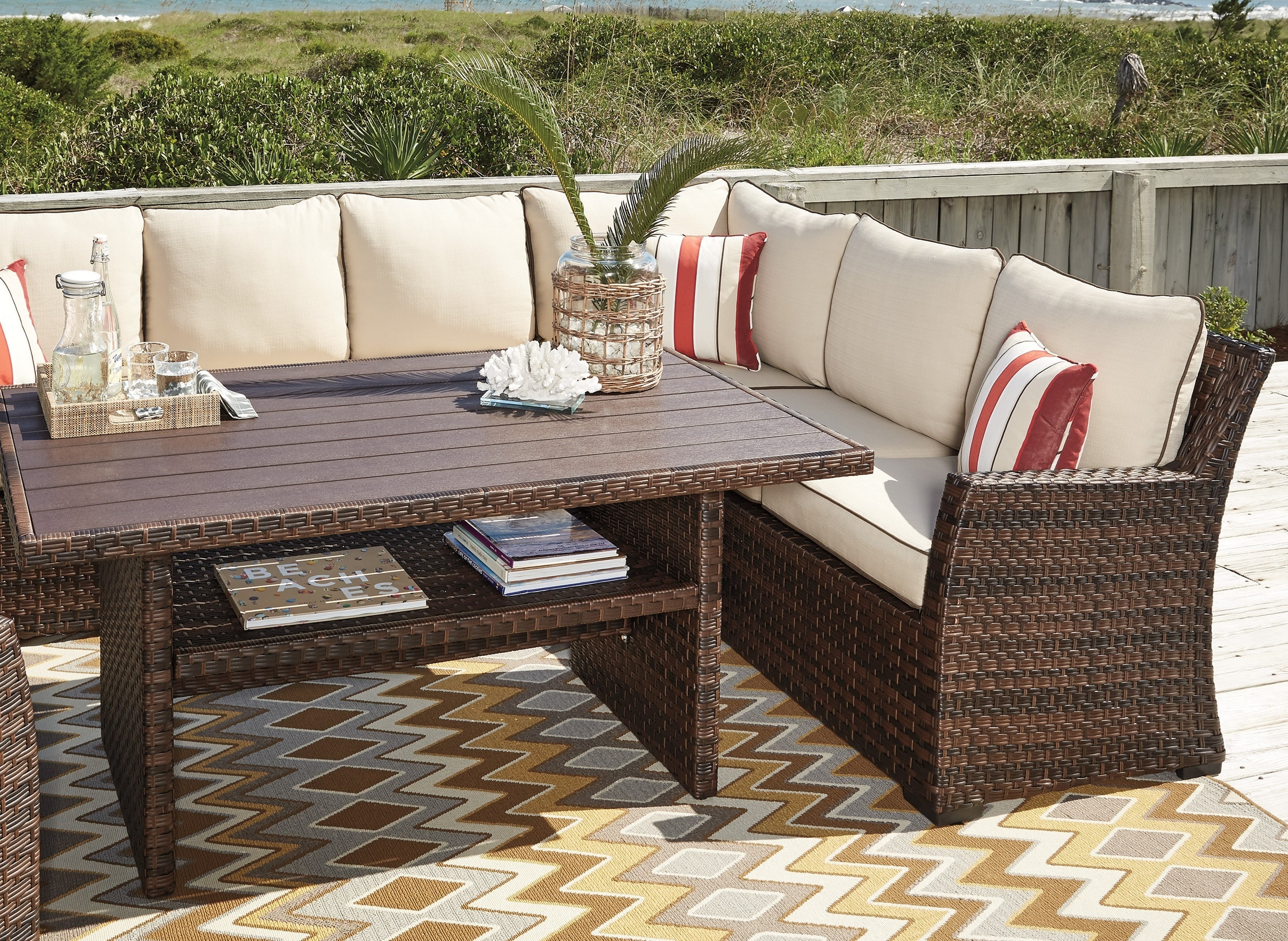 Ashley Outdoor Sectional With Chair And Table P451 822/625