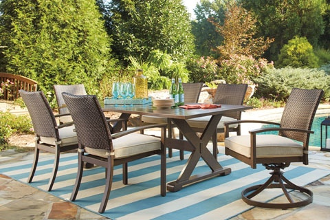 Ashley 7 Piece Outdoor Dining Set P457/625/602A/601A