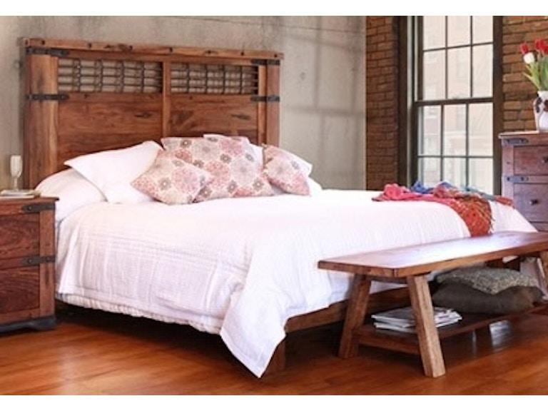International Furniture Direct Living Room Parota Wood King Bed ...