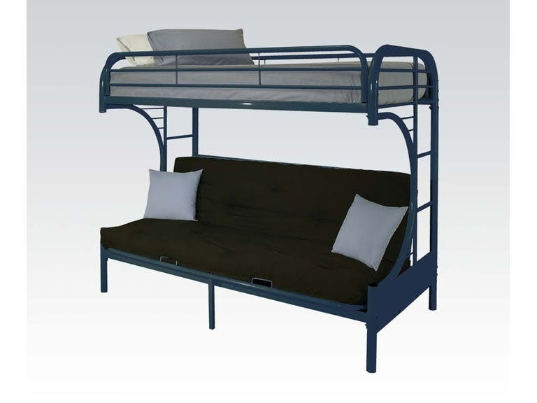 Acme Furniture Twin/Full Futon Blue Bunk Bed Set. Bedding included. 02091BUST
