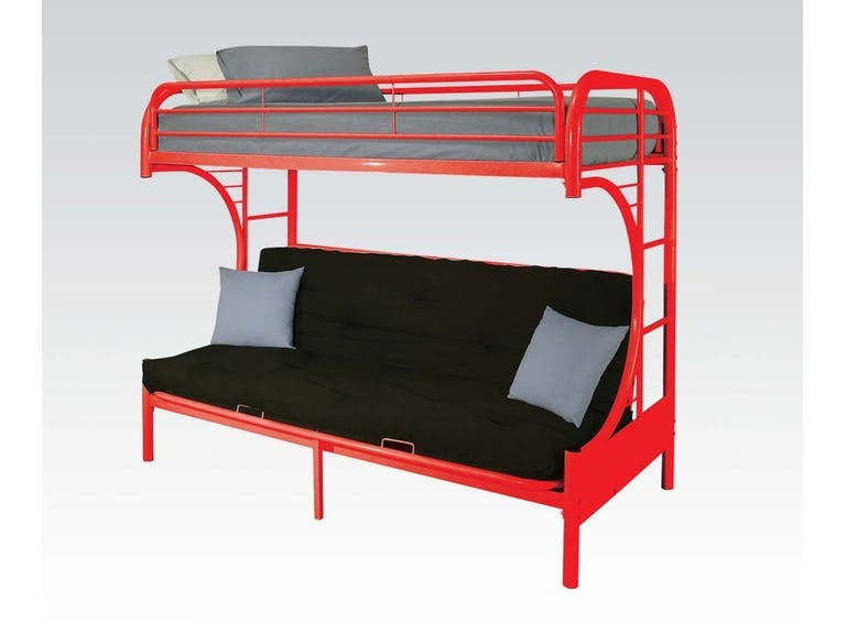 Acme Furniture Twin/Full Futon Red Bunk Bed Set. Bedding included. 02091RDST
