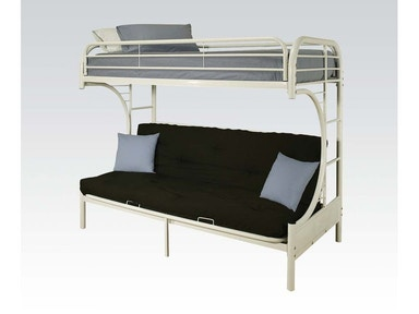 Acme Furniture Twin/Full Futon White Bunk Bed Set. Bedding included. 02091WST
