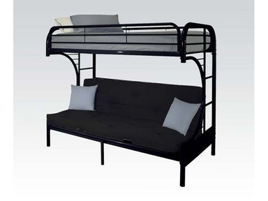 Acme Furniture Twin/Full Futon Black Bunk Bed Set. Bedding included. 02091BKST
