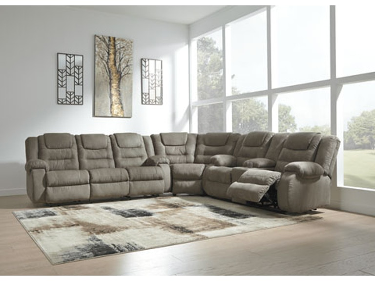 Signature Design by Ashley 3 Piece Reclining Sectional Sofa 10104SEC ...