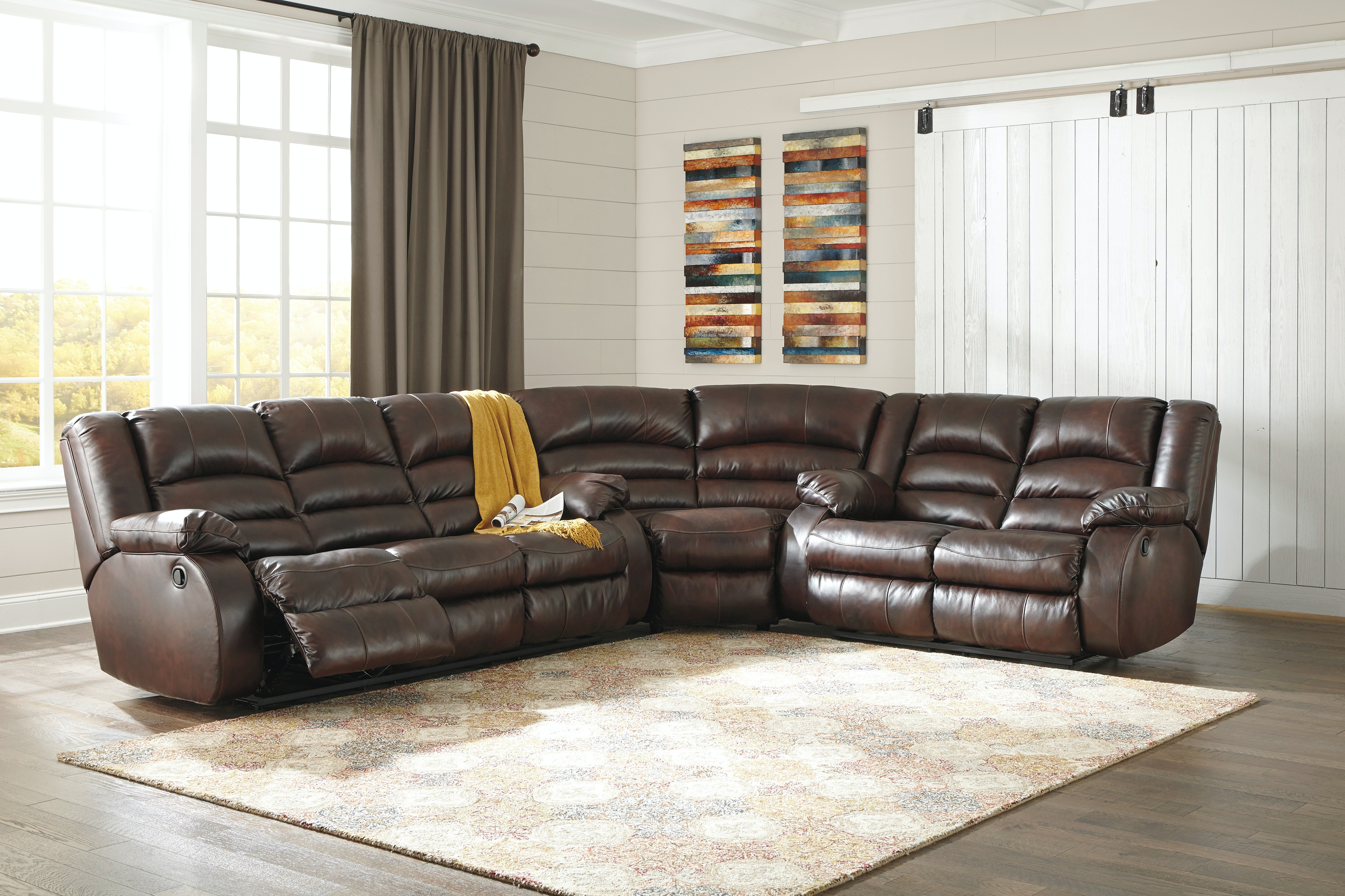 Signature Design By Ashley Living Room 3 Piece Sectional Sofa