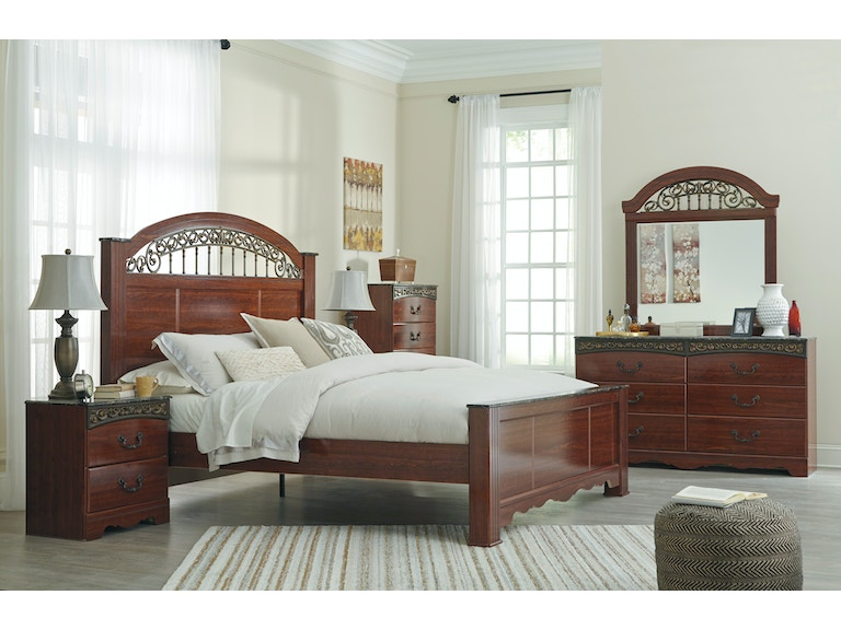 Fairbrooks Estate 5pc King Bedroom Set Includes King Bed Dresser Mirror Chest And 1 Nightstand