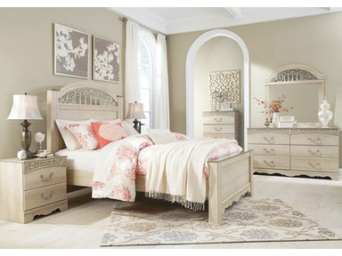 Signature Design by Ashley Catalina Cream 5pc queen bedroom set. Includes queen bed, chest, dresser, mirror, and 1 nightstand. B196QST