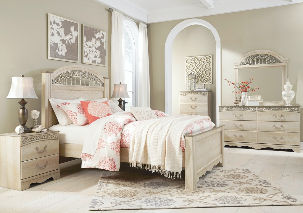 Signature Design By Ashley Catalina Cream 5pc King Bedroom Set Includes King Bed Dresser Mirror