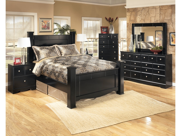 Shay 5pc queen bedroom set. Includes queen poster bed, dresser, mirror,  chest, and 1 nightstand. All-black finish.