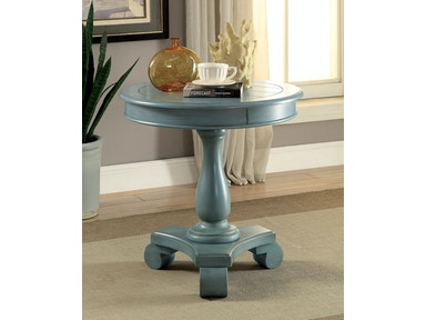 Furniture of America Round Accent Table, Antique Teal CM-AC135TL