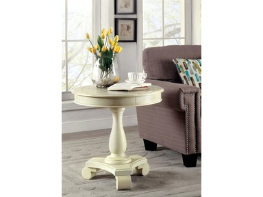 Furniture of America Round Accent Table, Antique White CM-AC135WH