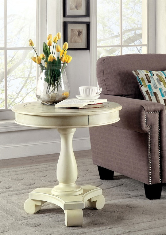 Round Accent Table, Antique White