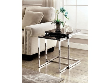 Furniture of America Nesting Table, Black Faux Marble CM-AC155BK