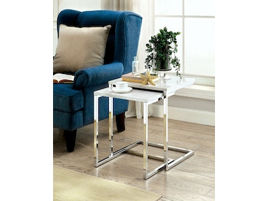 Furniture of America Nesting Table, White Faux Marble CM-AC155WH